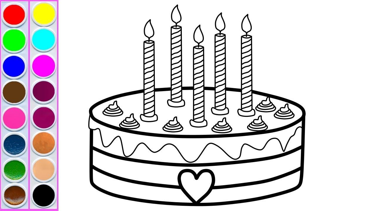 How to draw color birthday cake for children learn