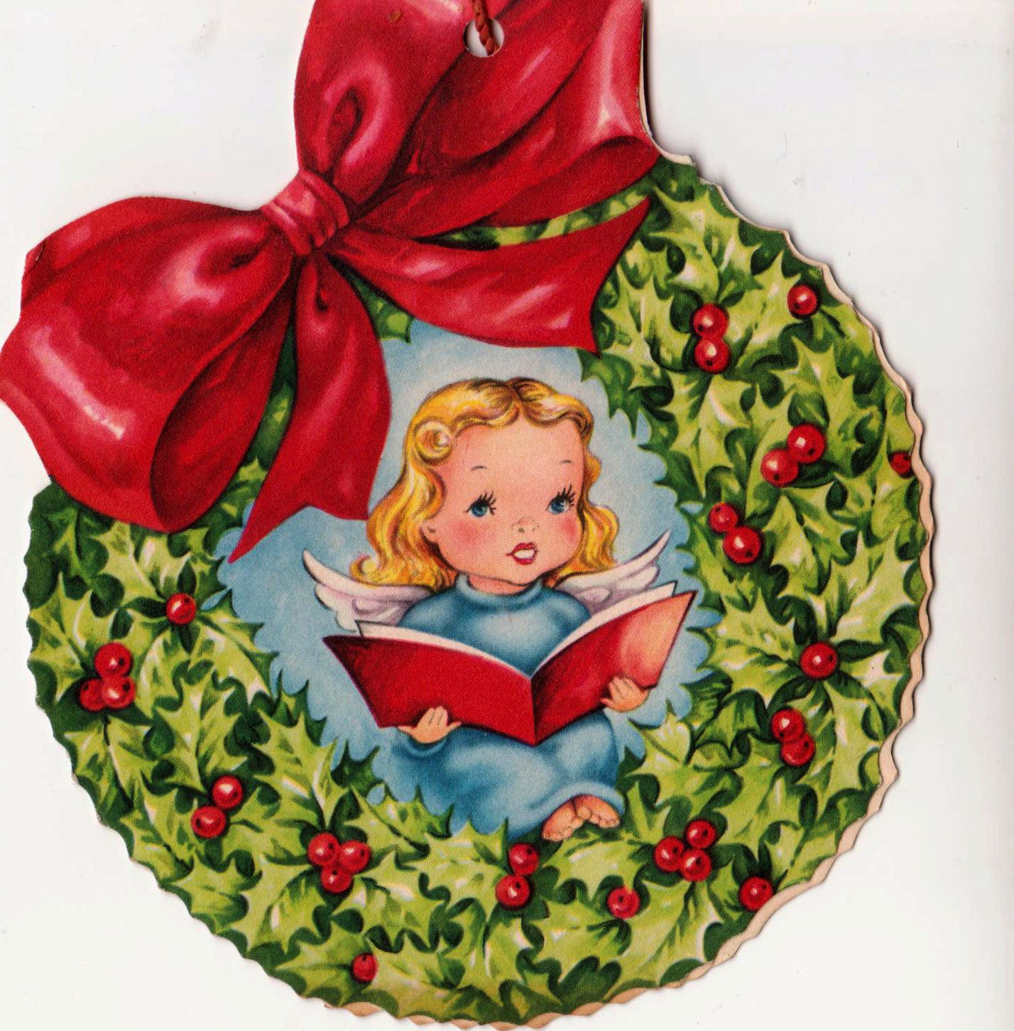 Christmas Tree Decoration 1950s Bow Vintage Greetings Card (B1)