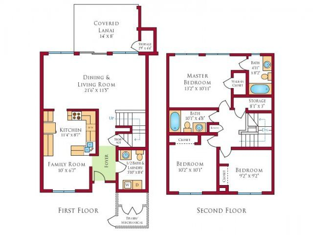 Forest City Residential Management Inc Floor Plans 3 Bedroom Home Floor Plans House Floor Plans