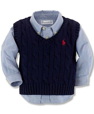 7a8eb03b0 Polo Ralph Lauren Baby Boys' Cable Knit Vest | Easter | Baby boy ...