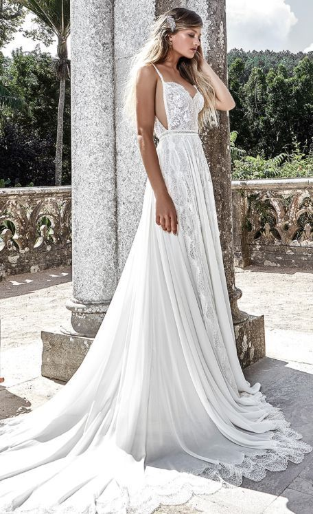 Stunning Spaghetti Strap Side Cut Out Wedding Dress With D Pleated Skirt Featured Solo Merav