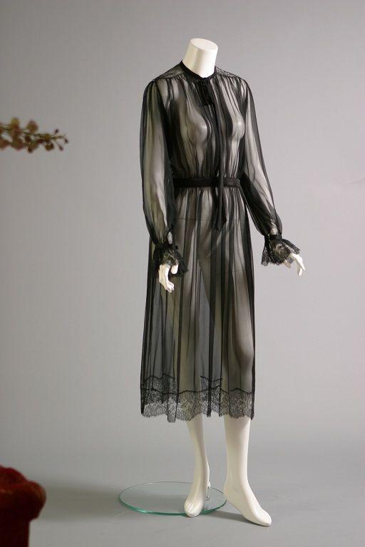 Yves SAINT LAURENT, Black chiffon and Chantilly lace cocktail dress, circa 1970.