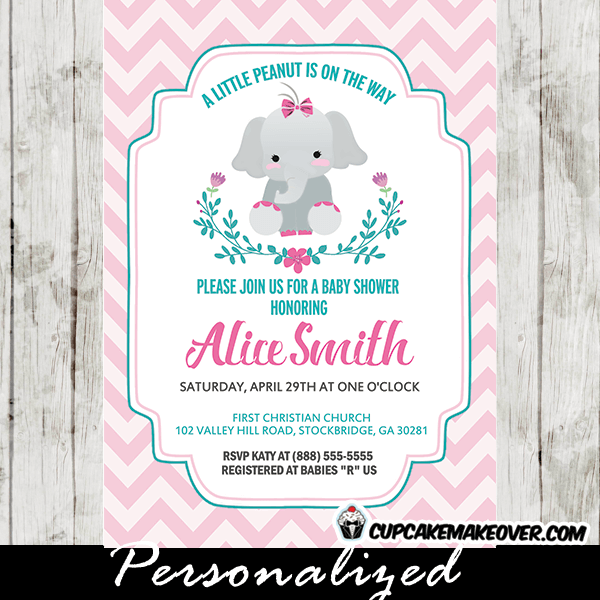Elephant Baby Shower Invitations Girl Featuring An Adorable Newborn Calf  With A Bow Tie In A