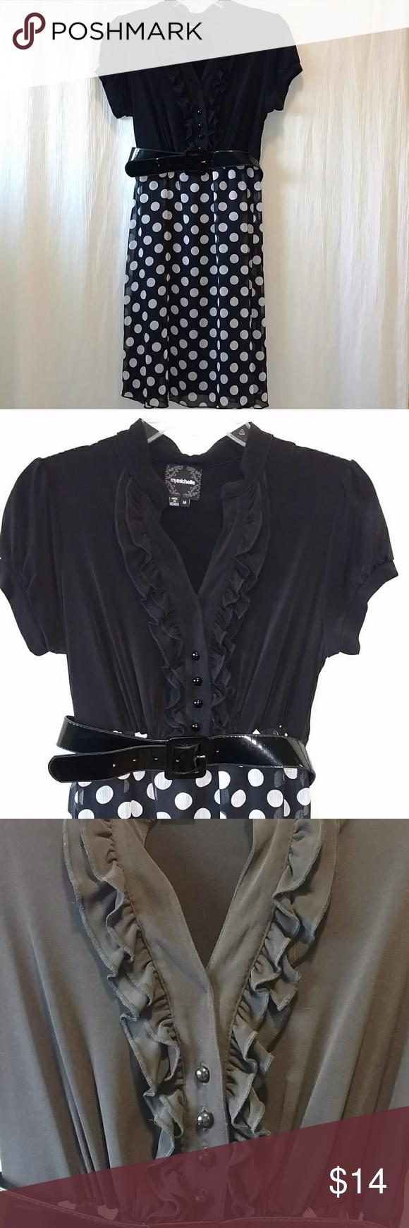 Womenus juniors short black u white girly dress my posh closet