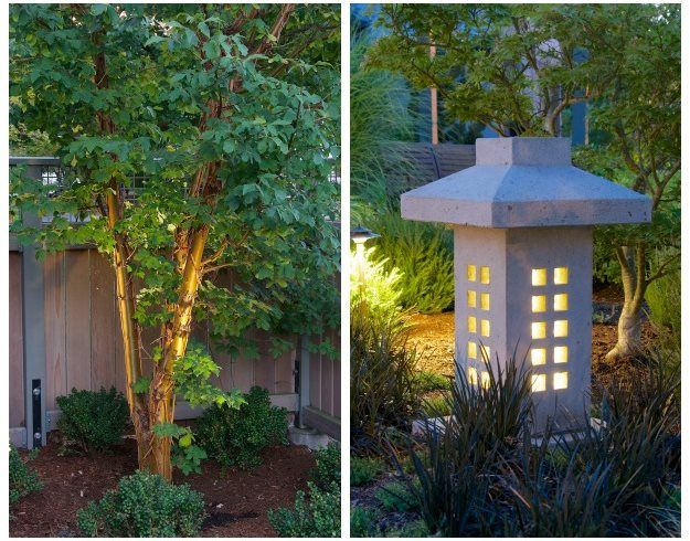 Tree Lighting And Stone Lantern Barbara Hilty Landscape Design Llc