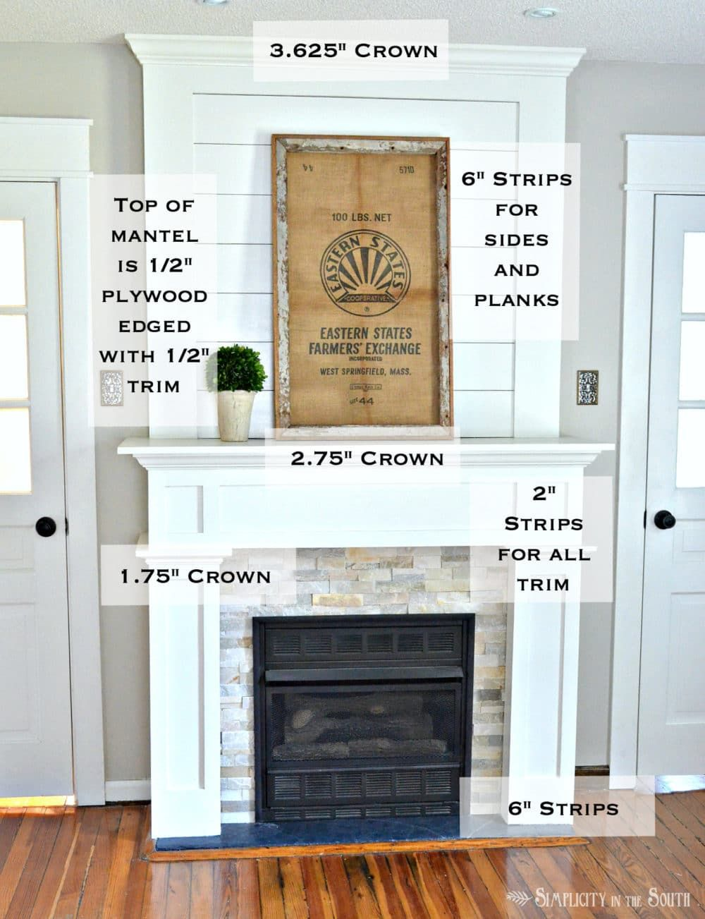 Trim Work On A Simple Farmhouse Style Fireplace Surround With Shiplap Such An Easy Way To Do Diy Makeover Budget