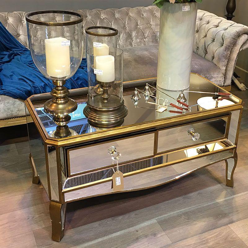 Venetian Gold 2 Drawer Mirrored Coffee Table Mirrored Coffee