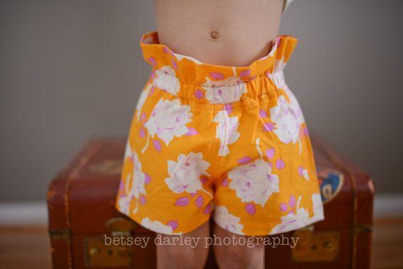 Girls highwaisted shorts in tangerine. Toddler by pureandlasting ...