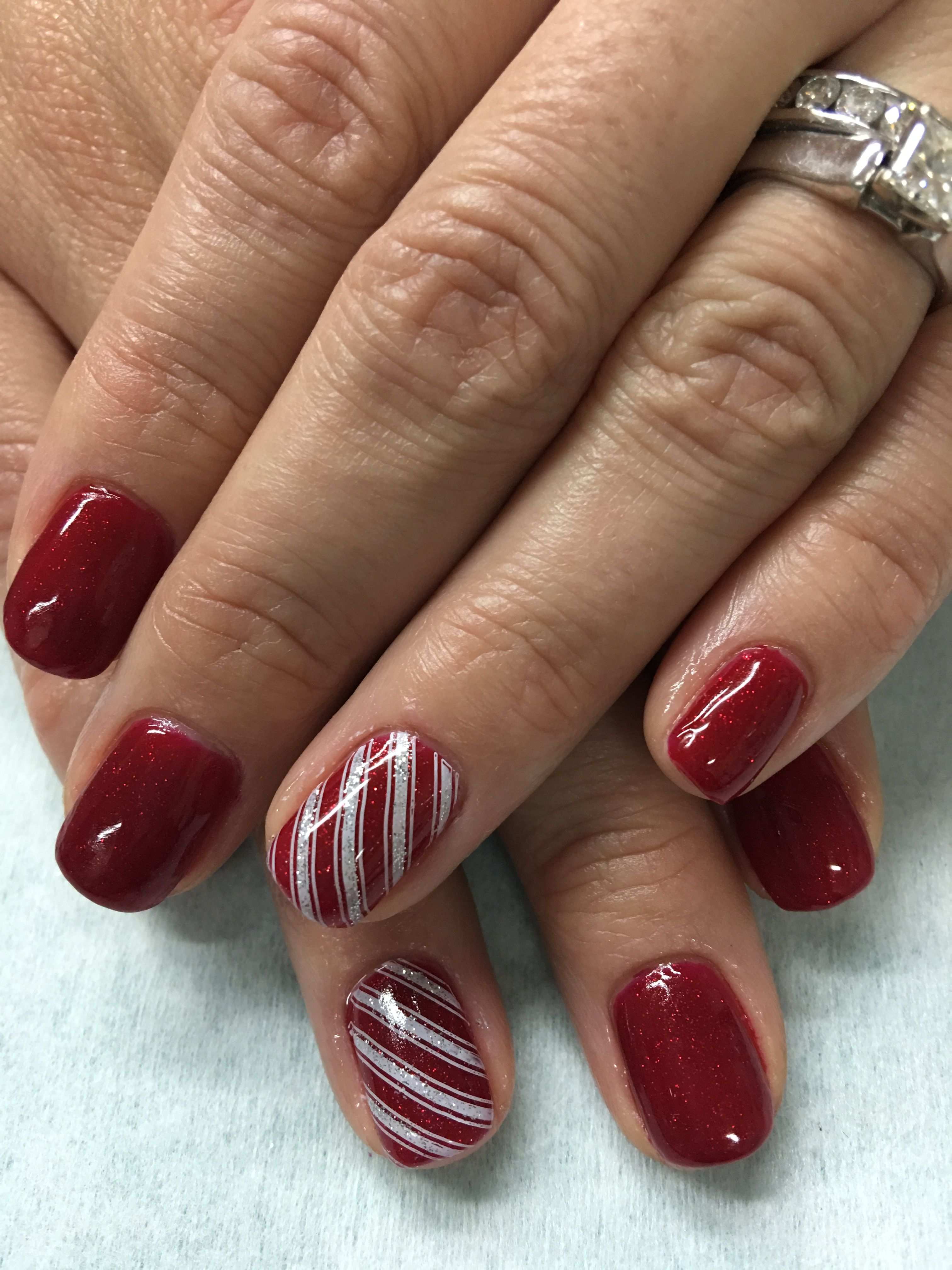 Christmas Nails Gel.Sparkle Red Christmas Stamped Candy Cane Gel Nails Gel