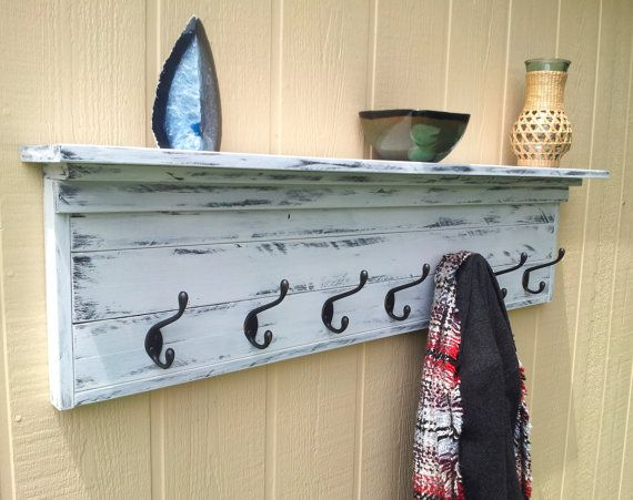 Coat Rack With Shelf Wall Mounted With 7 Oil Rubbed Bronze Hooks White Distressed Finis Nautical Shelves Floating Shelves Bathroom Wall Mounted Coat Hanger