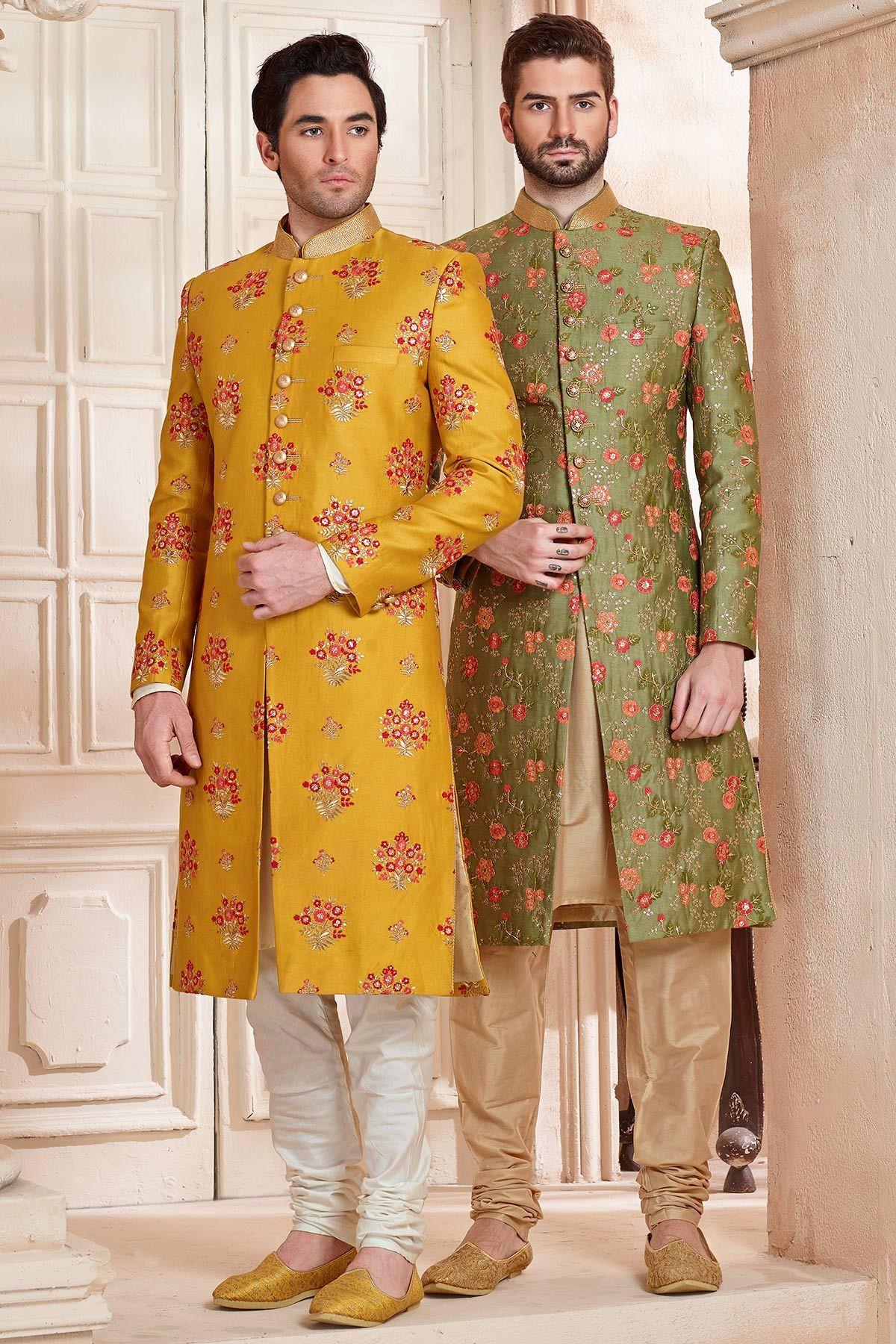Yellow u red raw silk resham embroidered indo western sherwani