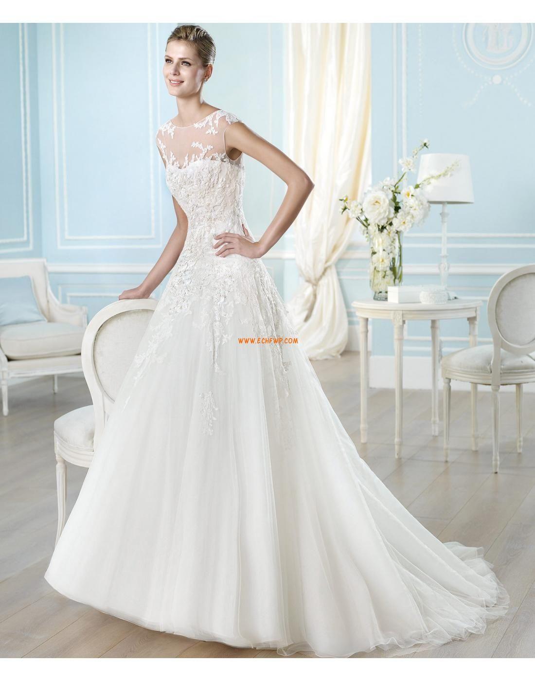Look luminoso e scintillante Barchetta Applique Abiti da Sposa Design