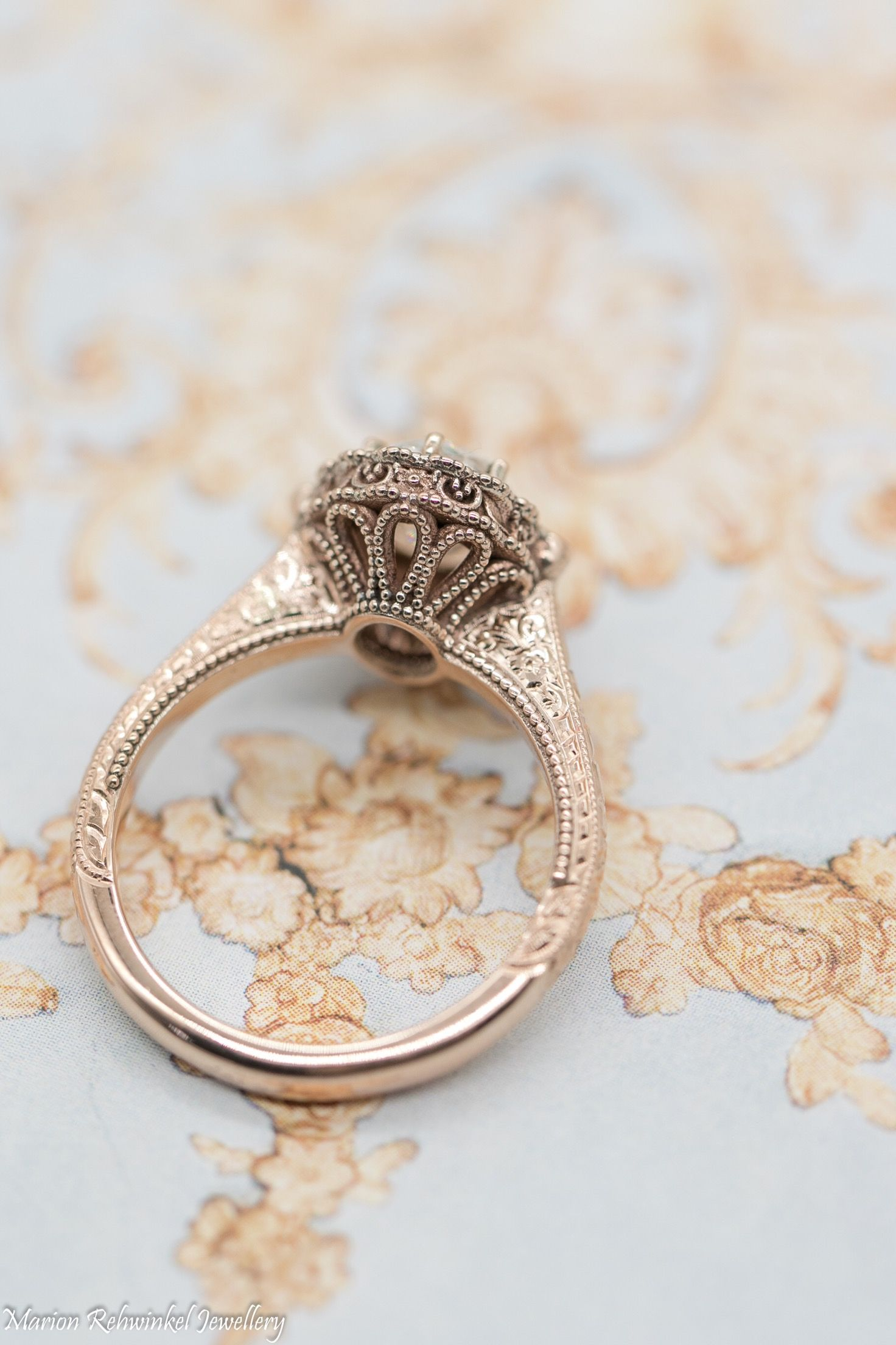 a3ff9f05058 Vintage oval engagement ring by Marion Rehwinkel Jewellery. Oval diamond  ring in rose gold Oval
