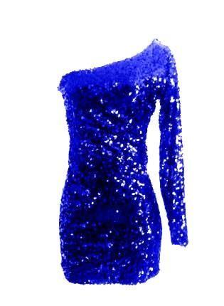 b40a2edcafc Royal Blue Sequin Long Sleeve Glitter Sparkle Party Dress