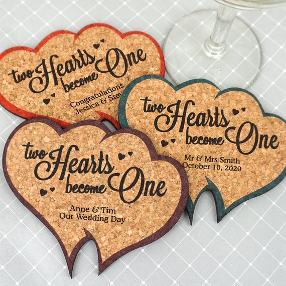 Wedding Favor Coasters, Personalized Double Heart Shaped ...