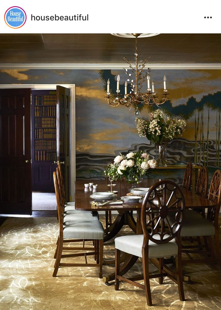 English Paneled Room: Gold Leaf Ceiling Panels + Abstract Wall Patterns