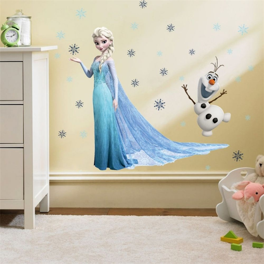 Frozen Arte Pegatina pared Elsa Anna Olaf habitación infantil niños mural