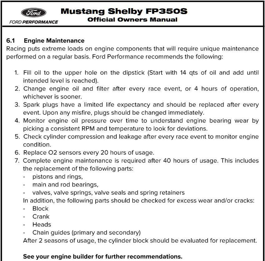 Ford Mustang Maintenance Schedule