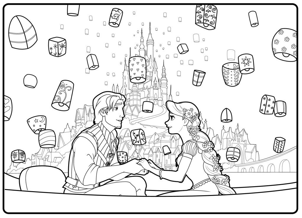 coloring pagesrapunzel and flynn wedding coloring pages coloring pages of scene anime - Tangled Coloring Pages Girls