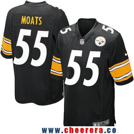 33891edd4 ... Mens Pittsburgh Steelers 55 Arthur Moats Black Team Color Stitched NFL  Nike Game Jersey ...
