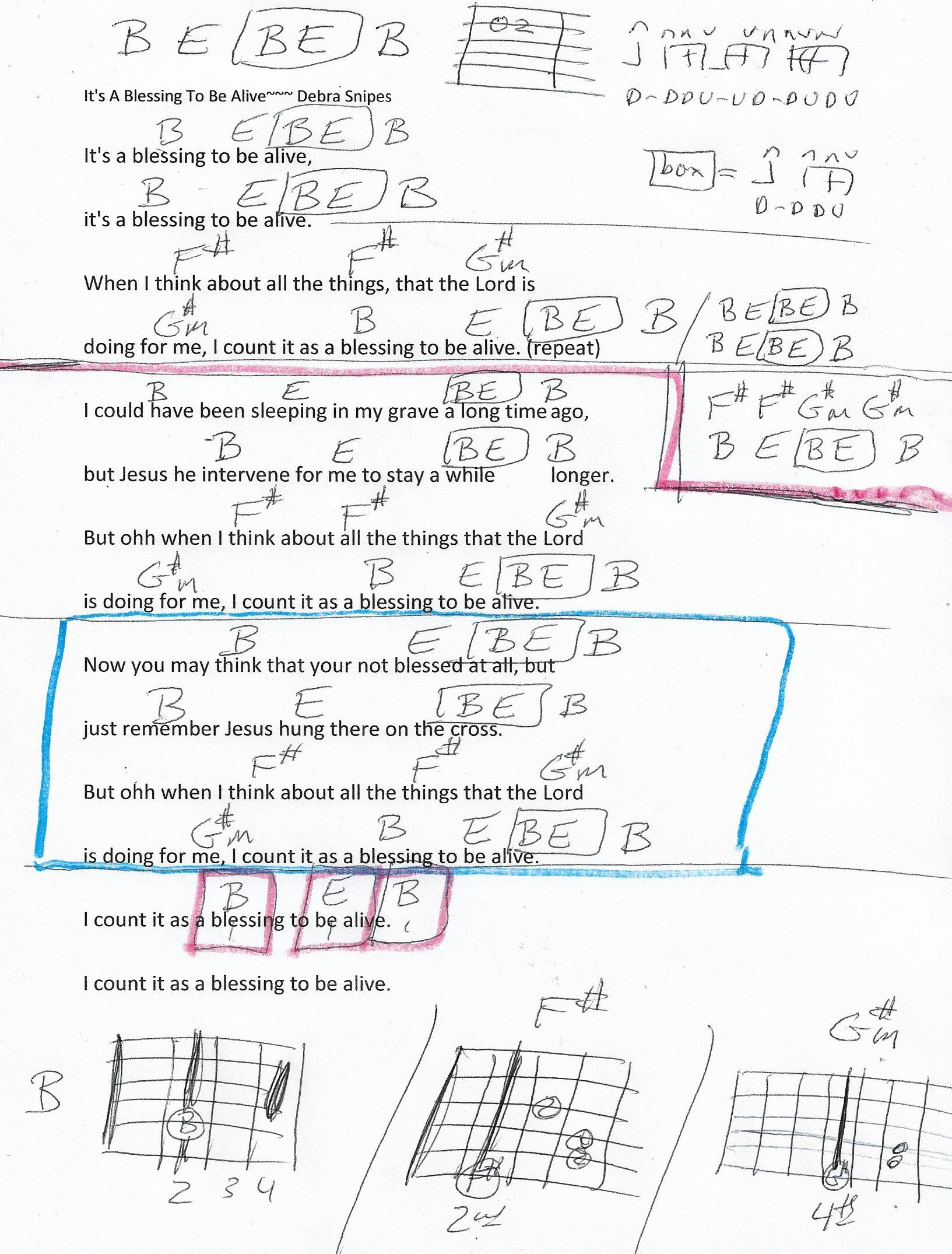 Its A Blessing Debra Snipes Guitar Chord Chart In B Major Real