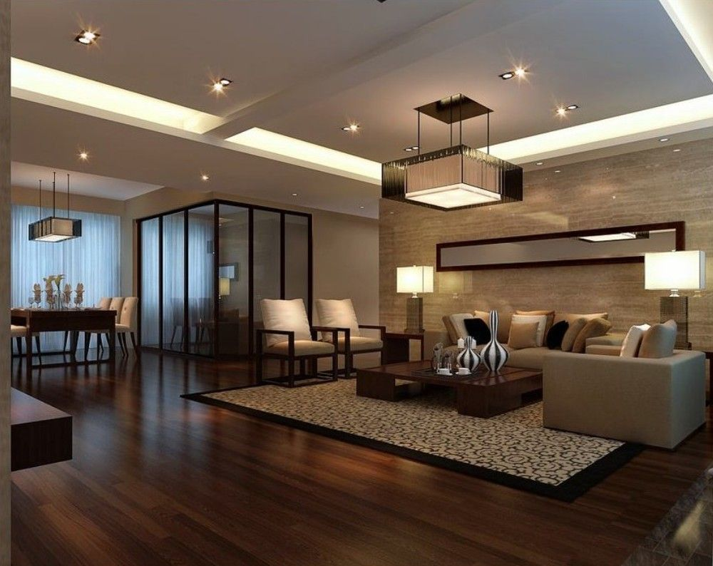 Modern Living Room And Dining Rooms With Driftwood Flooring