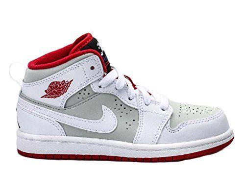 new concept e7e56 2a348 Boy s Air Jordan 1 Mid WB Basketball Shoe (PS) White Light Silver Black True  Red 11C Nike http   www.amazon.com dp B00VO96KXW ref  ...