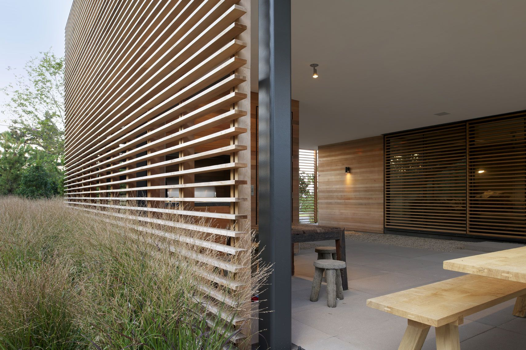 Exterior Wood Louvers At Contemporary Residence Photo Matthew Carbone Architectural