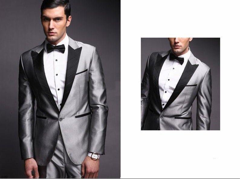 Aliexpress.com : Buy Best New Style Groom Tuxedos Silver Peak Black ...
