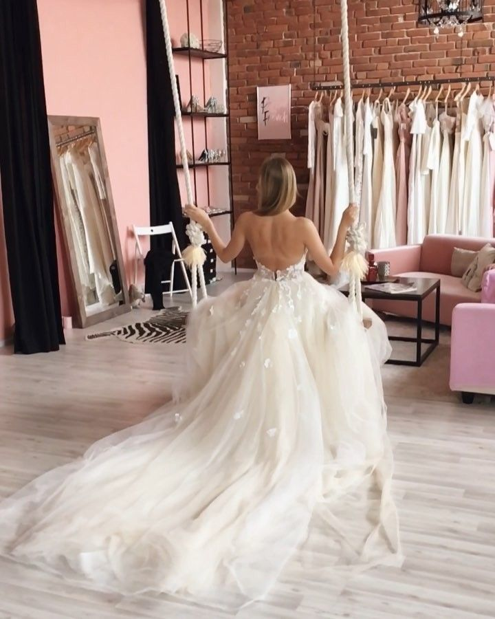 This unique backless tulle a line lace princess wedding dresses by ...