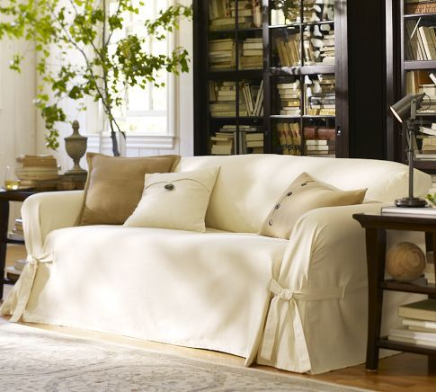 Marvelous Twill Tie Arm Loose Fit Slipcover, Small Sofa, Cream.