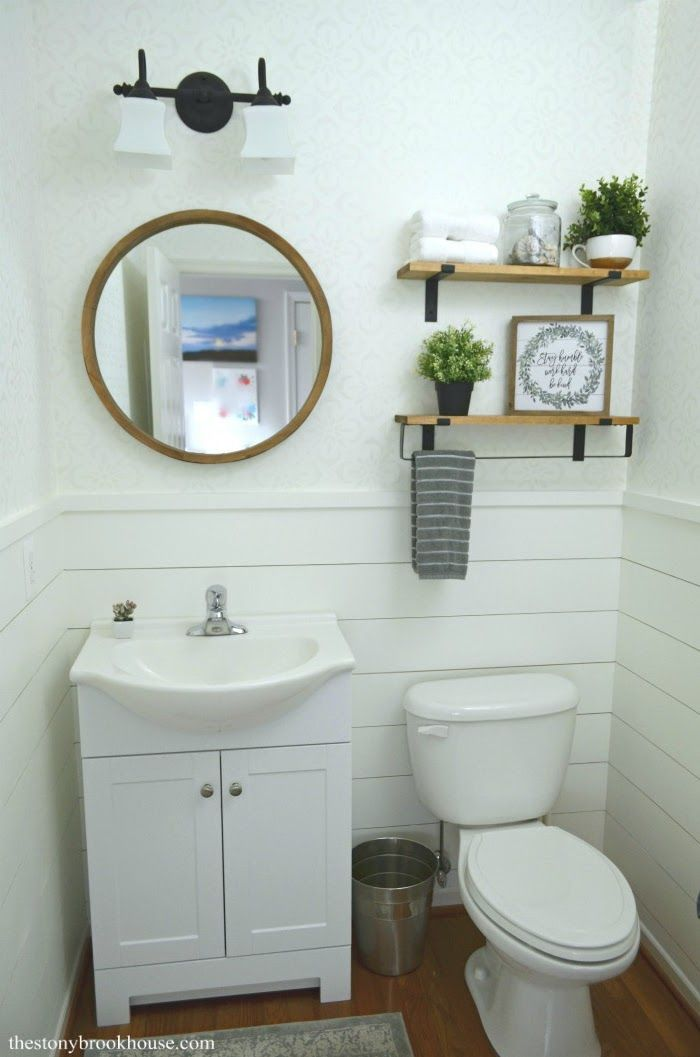 Farmhouse Powder Room Makeover Is Finished! #modernpowderrooms