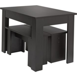 Buy Warsaw Black Melamine Dining Table And 2 Benches At Argoscouk