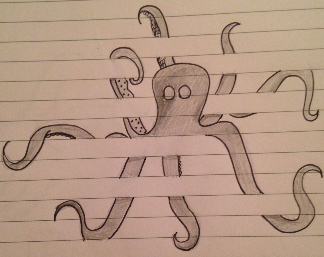 Drawing With Notebook Lines : Drawing sketch doodle octopus between the lines on lined