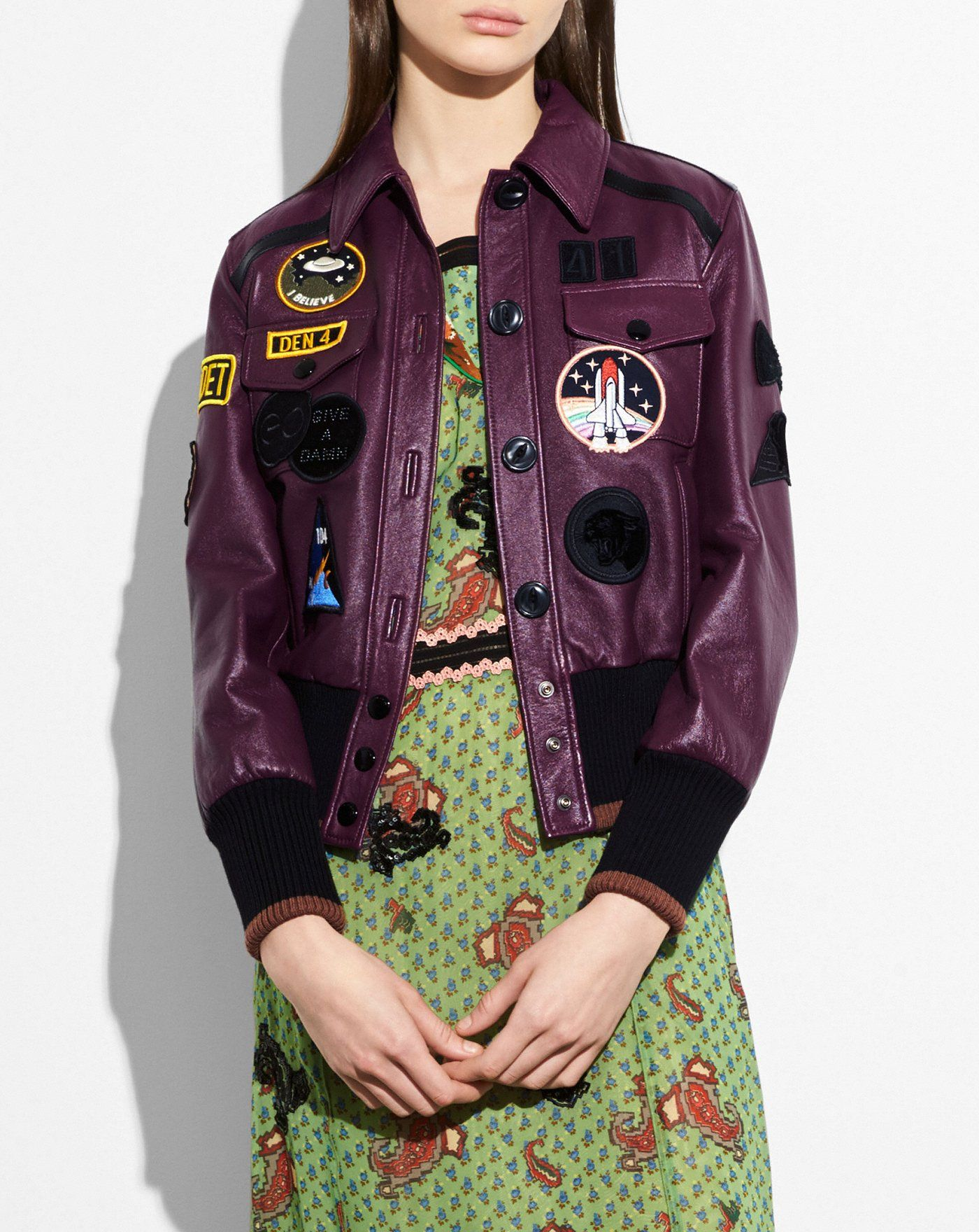 Leather jacket with patches Gift Ideas Purple leather