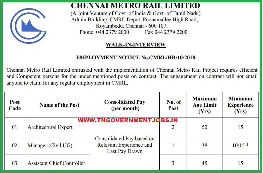 Chennai Metrol Rail Interview Posts for Architectural ...