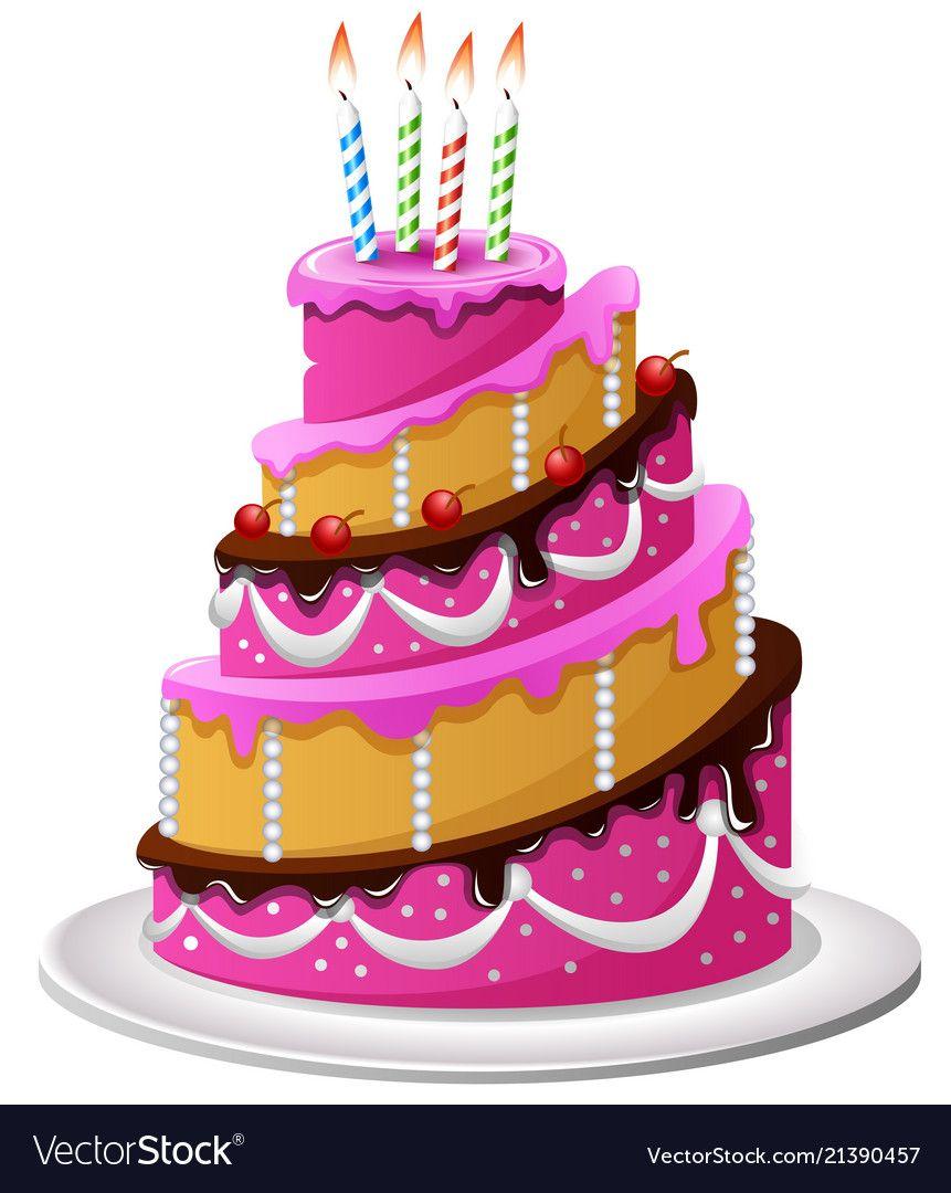 Illustration Of Birthday Cake Cartoon Download A Free Preview Or High Quality Adobe Illustr Birthday Cake With Candles Cartoon Cake Birthday Cake Illustration