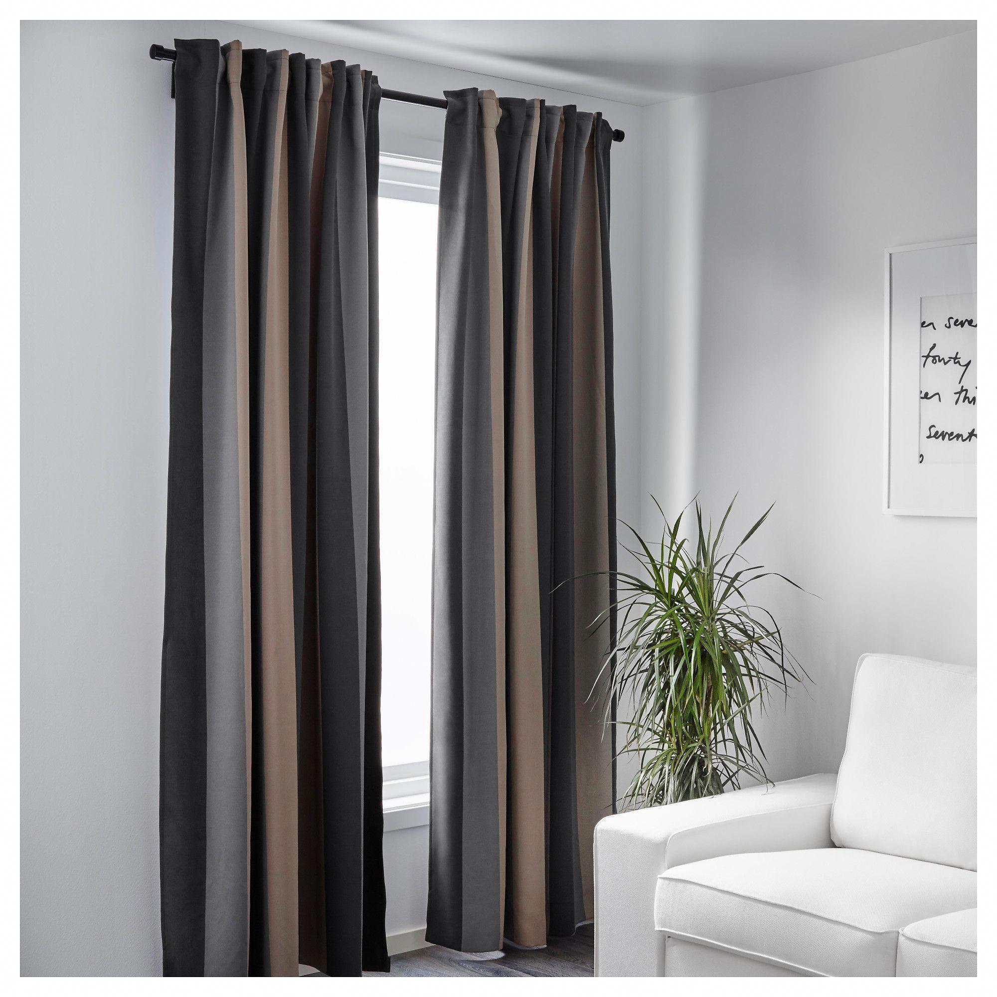 Ikea Praktlilja Blackout Curtains 1 Pair Gray Beige