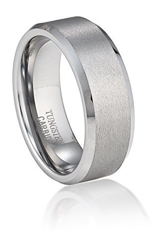 MEN 8mm TUNGSTEN CARBIDE Satin Finished ring size 9 or size 9.5