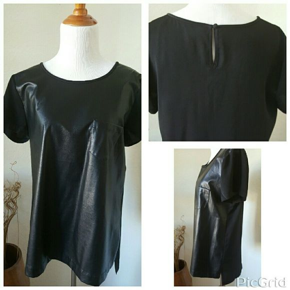NWOTJ Crew Drapey Leather Panel Tee Top Chiffon back and vegan leather front. Perfect choice if you want some trendy leather item, but are afraid that it is too hot&sweaty inside. ?Light material l.  Top has not been worn, tried it on it was too boxy and long for my petite frame.This can fit a tall small up to a. medium  Vegan leather, poly. Button closure at back neck. Chest pocket. J. Crew Tops Tees - Short Sleeve