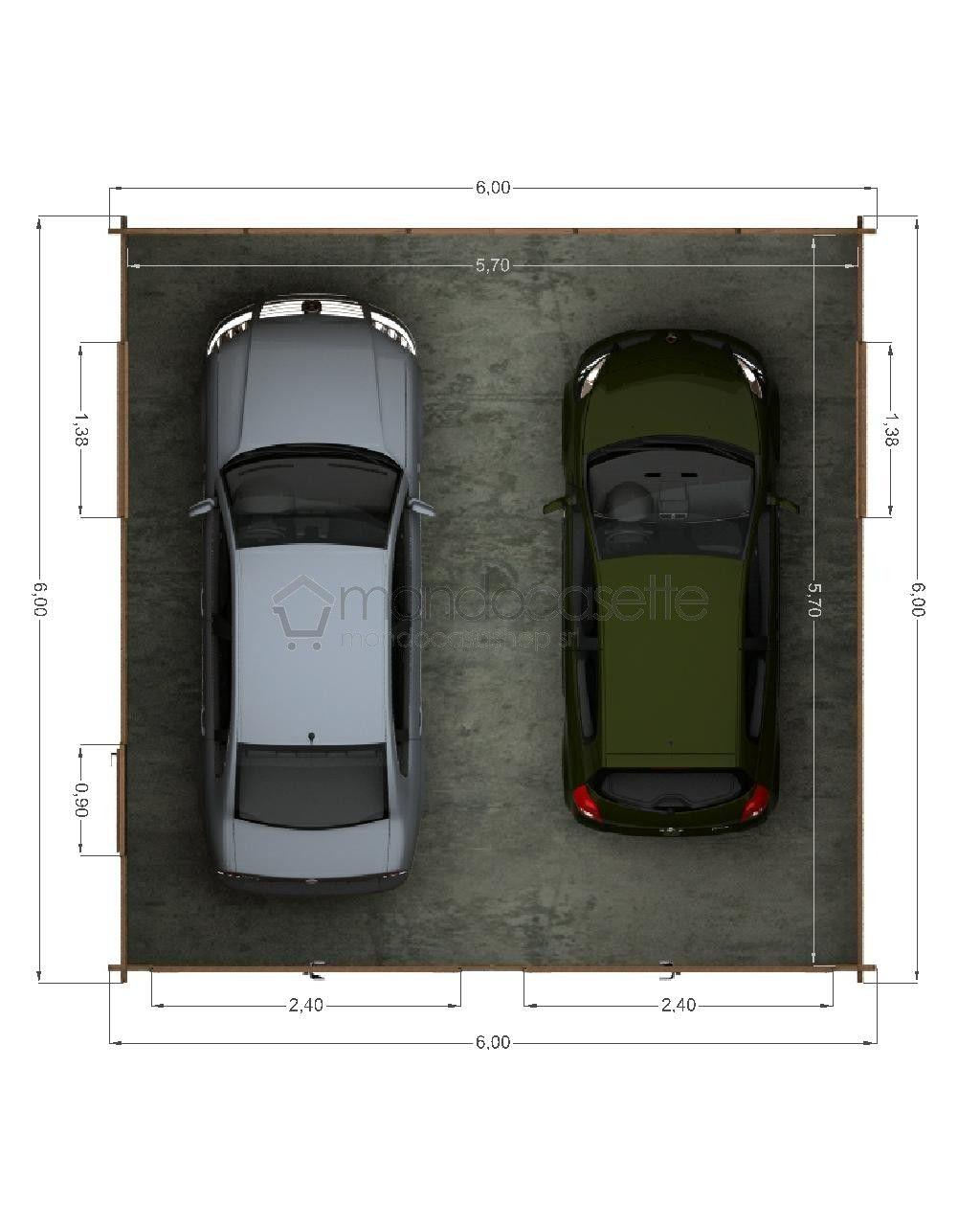 Cochera Dos Autos Medidas Garage In Legno 3 6x6 Cochera Garaje Planos