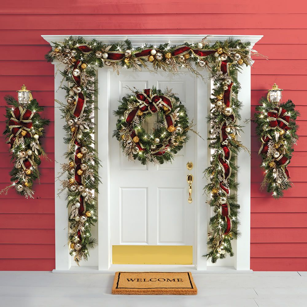 The Cordless Prelit Crimson And Gold Holiday Trim Garland Decorating With Christmas Lights Christmas Lights Outdoor Christmas Decorations