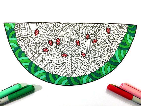 watermelon - pdf zentangle coloring page | watermelon slices ... - Slice Watermelon Coloring Page
