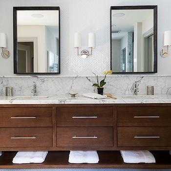I Like The Cabinet Counter Combo Like The Tall Backsplash Love The Herringbone Tile Behind The Mirrors Vanity Backsplash Amazing Bathrooms Bathroom Vanity