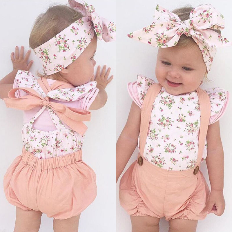 Cute Newborn Baby Girl Floral Romper JumpsuitBodysuit Headband Clothes Outfit US