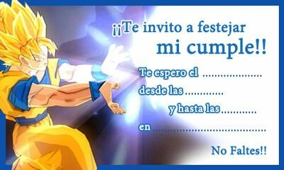 Hermosa Tarjetita De Invitacion De Goku Cumpleaños De