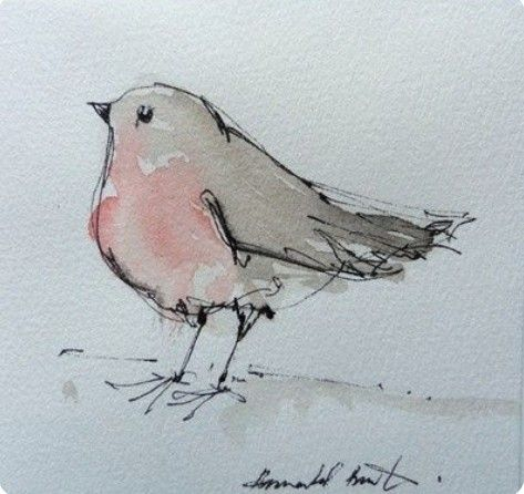 Two Toned Bird Easy Watercolor Paintings Bird Drawings