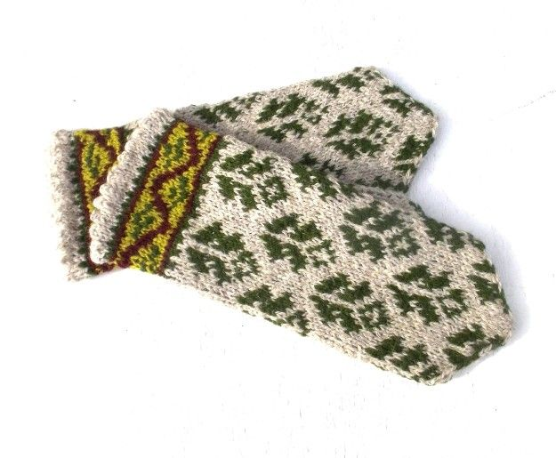 Hand knitted ethnic mittens, knitted colorful nordic mittens, latvian mittens by Peonija 42.00 €