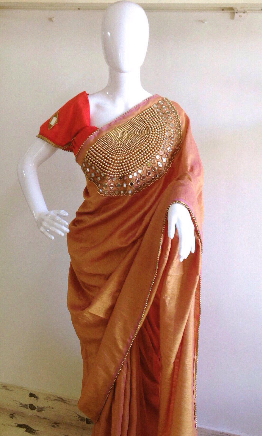 d8b7062522b592 Bronze gold semi raw silk saree with mirror and bead work with dark peach  orange mirror work blouse by GiaExquisiteIndian on Etsy