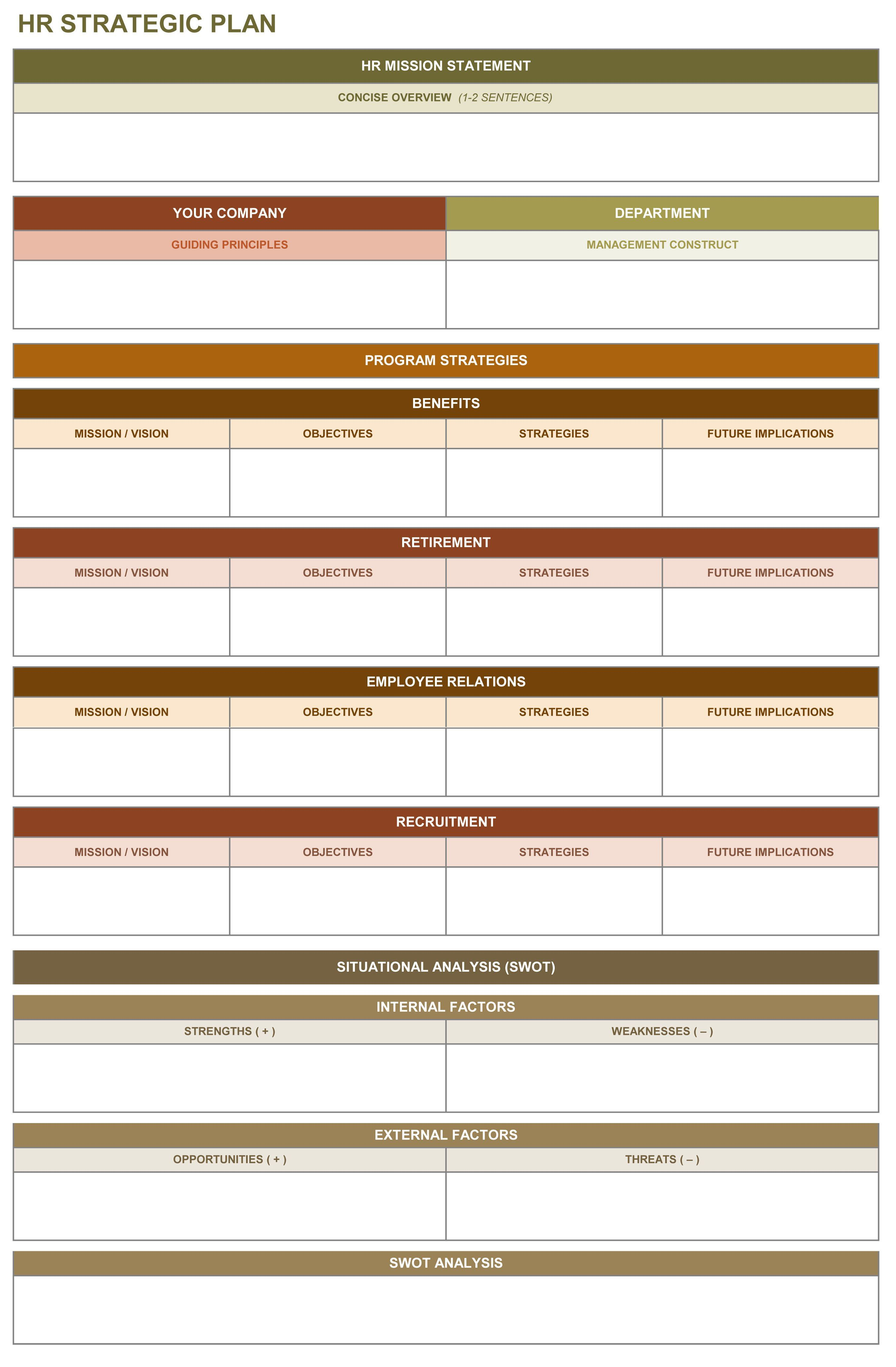 Hr Strategic Plan Excel Template